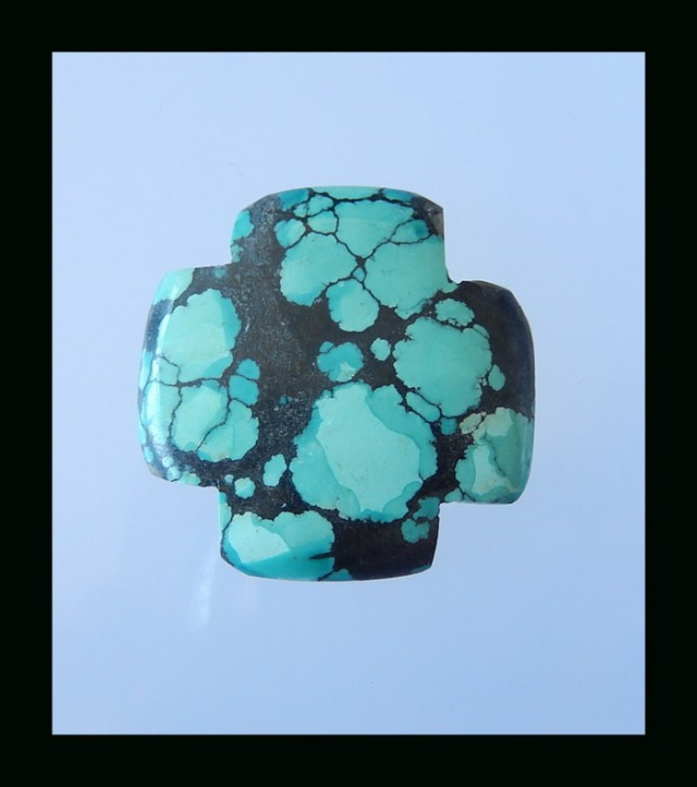 Fashion Natural Turquoise Cross Cabochon - 30x30x4.5 MM
