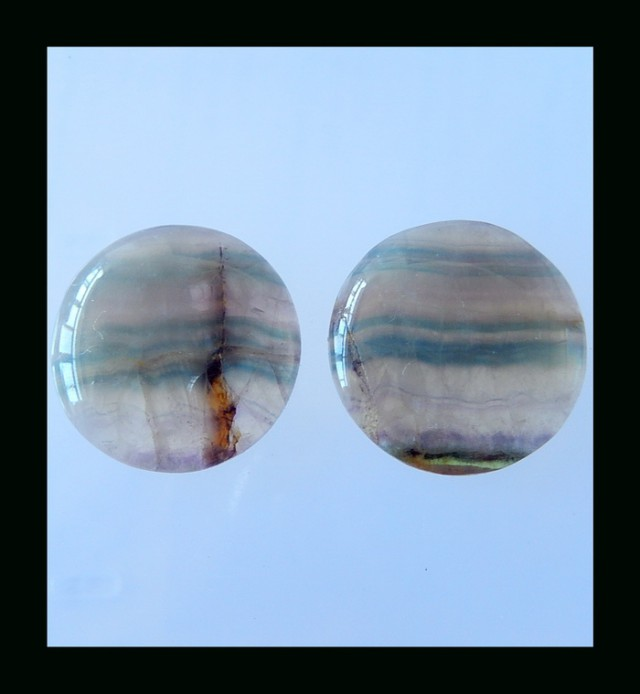 Natural Fluorite Cabochon Pair - 25x6 MM,75 Cts