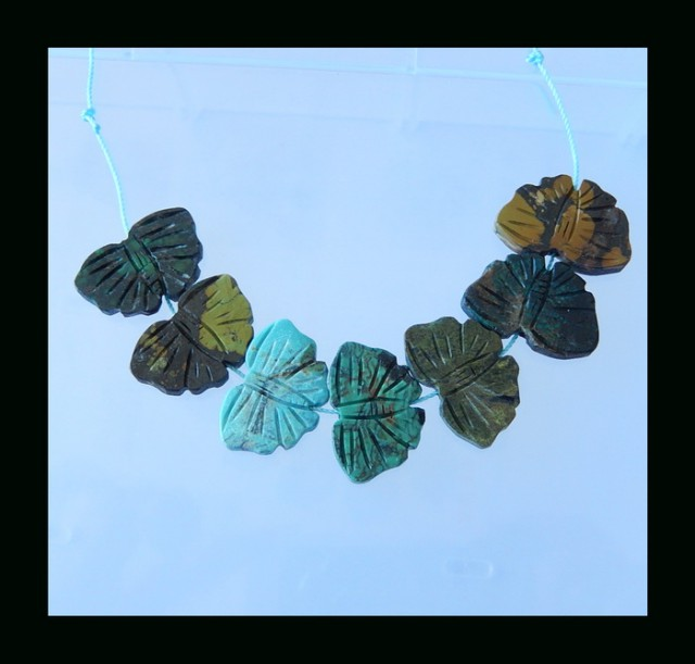 Butterfly Carving Turquoise Pendant Bead - 24x16x4 MM