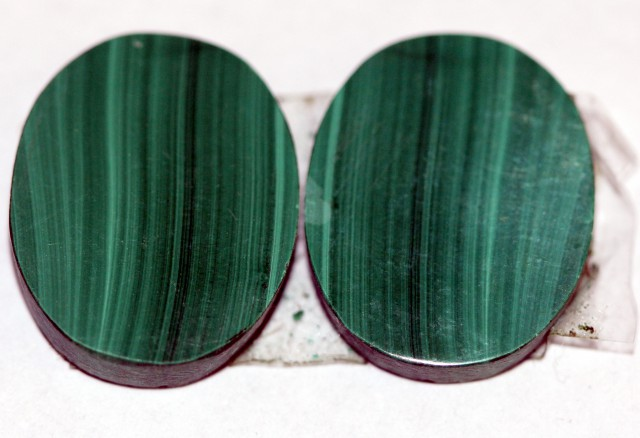 Natural Malachite  Matched Oval Pair 15ct Nice Marking MP02