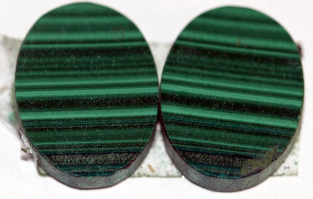 Natural Malachite  Matched Oval Pair 15ct Nice Marking MP06