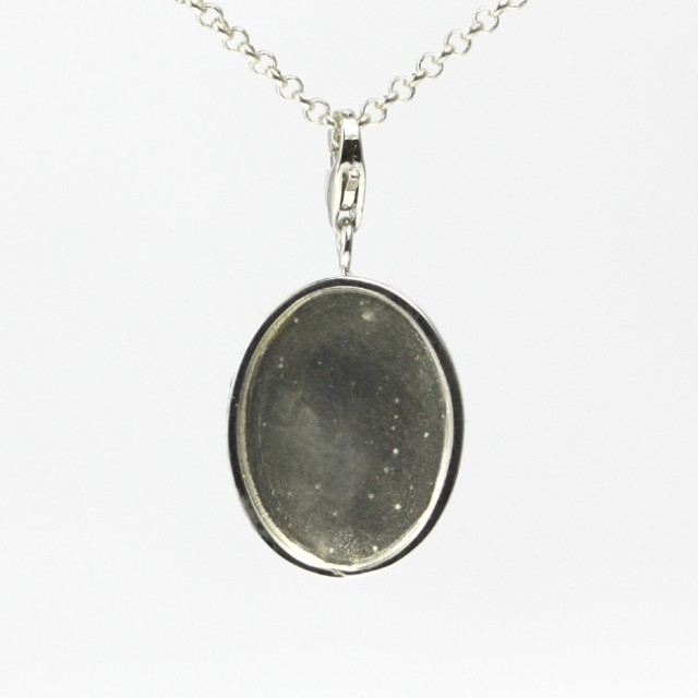 16 X 12mm Oval Cabochon Pendant/Charm Sterling Silver (925) Finding