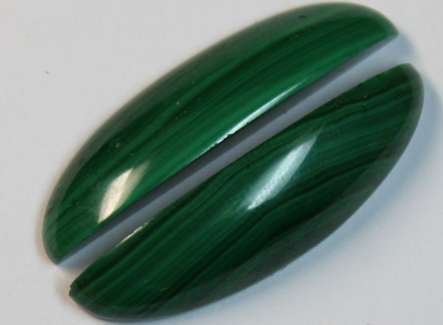 27.5 CTS MALACHITE PAIR OF STONES TOP GLOSSY POLISH ON PAIR