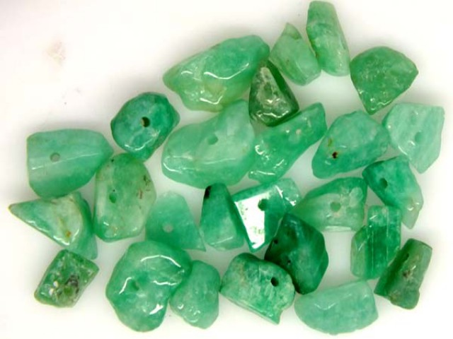 EMERALD BEAD UNTREATED DRILLED 29 PCS 42 CTS NP-1330
