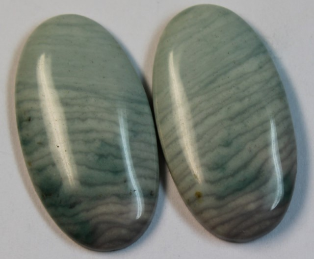 27.35 CTS WAVE JASPER PAIR FLAT CAB POLISHED STONE