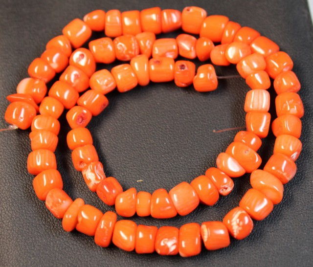 175 CTS RED CORAL STRAND OF BEADS