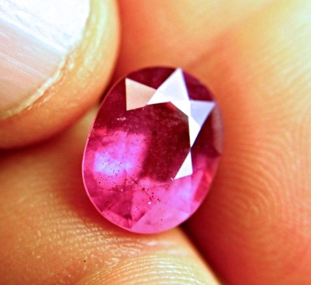 7.63 Carat Fiery Pinkish Red Ruby - Superb