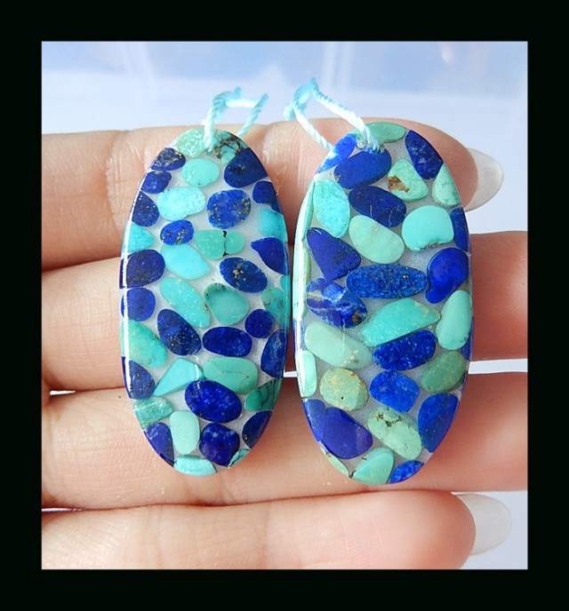 63.5Ct Hot Sale Lapis Lazuli Turquoise, Shell Intarsia Earring Bead