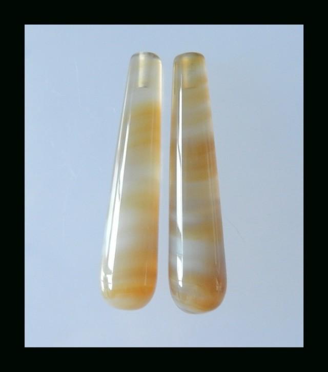 Tube Agate Earring Bead  - 39x9 MM