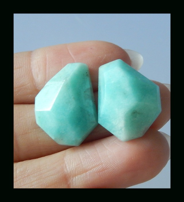 Faceted Amazonite Cabochon Pair - 20x15x7 MM