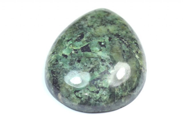 Emerald green cabochon drop shape untreated large