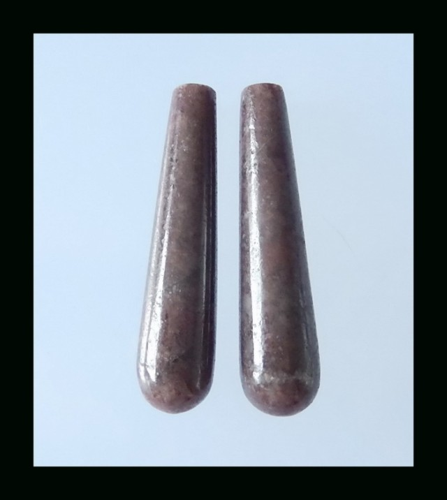 Teardrop Rhodonite Earring Bead - 40x9 MM