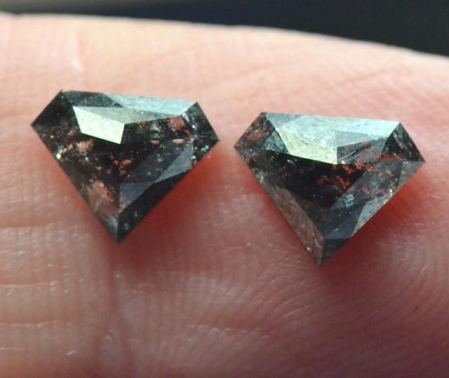 8mm 1.85ct Pair salt pepper grey pentagon diamonds