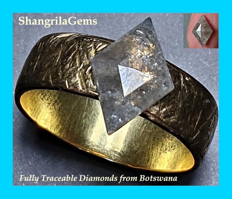 1.45ct 12.33mm Diamond kite shape salt pepper grey rose cut from Botswana F
