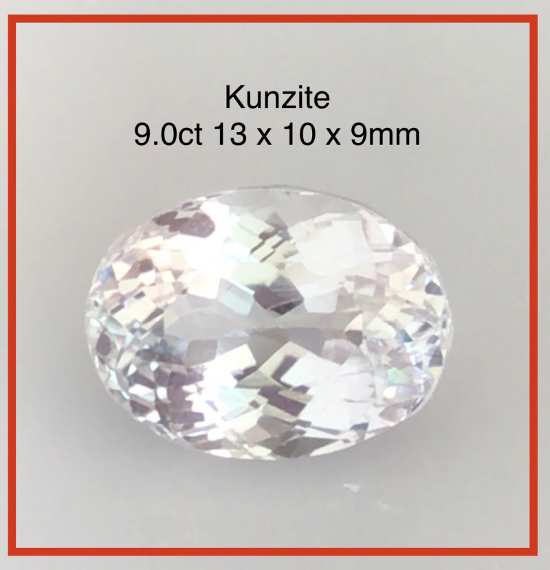 Gorgeous 9.00ct Colorless  Oval Cut Kunzite  THM37