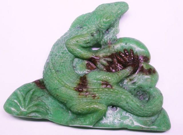 chrysoprase carving of a lizard