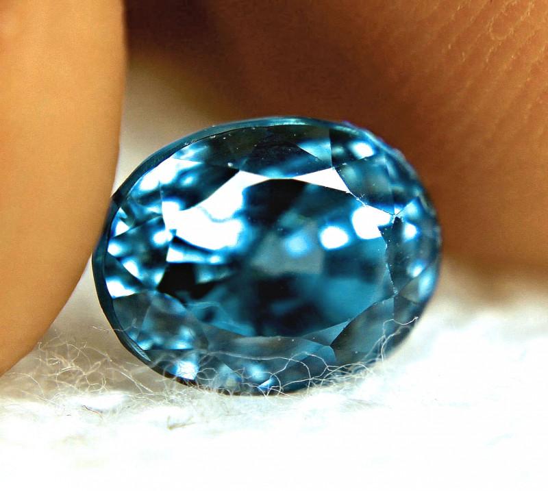 4.98 Carat IF/VVS1 Blue Southeast Asian Zircon - Superb