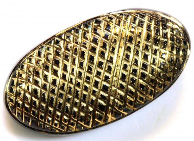 31CTS BLACK ONYX  24K GOLD ENGRAVED  LG-801