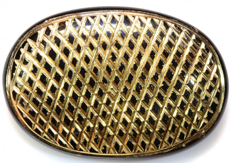 44CTS BLACK ONYX  24K GOLD ENGRAVED  LG-807