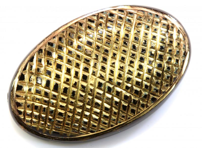 30CTS BLACK ONYX  24K GOLD ENGRAVED  LG-838