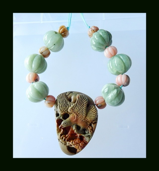 Prehnite, Pink Opal Bead With Picasso Jasper Carving, For Jewelry Design