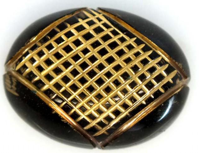 18.30 CTS BLACK ONYX   24K GOLD ENGRAVED  LG-841