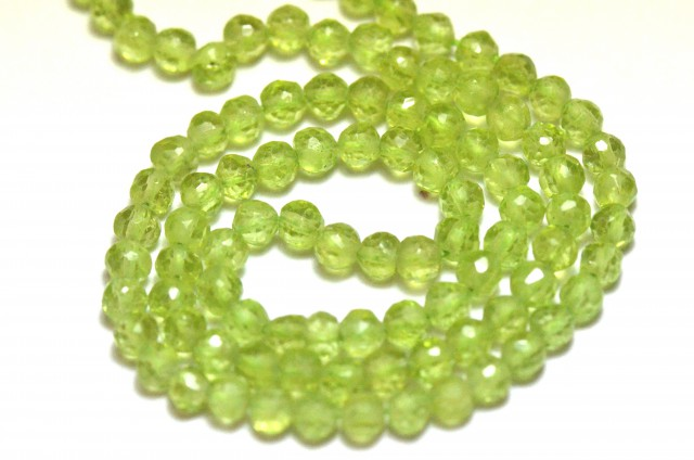 PERIDOT round faceted beads 14 inch line AAA