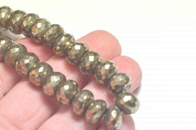 PYRITE faceted roundelle beads 8 inch line PYR002