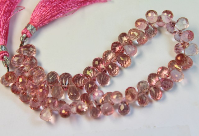 110.0 CTS NATURAL STRANDS PINK TOPAZ POLISHED BEADS P961