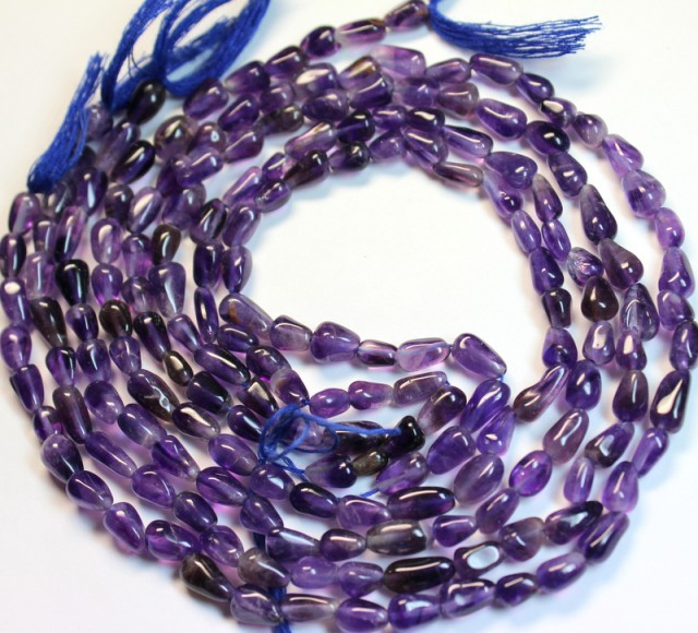 286 CTS 4 NATURAL STRANDS OF AMETHYST POLISHED BEADS P 973