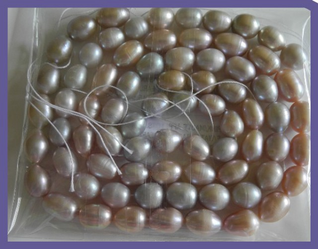 2 X PINK/MAUVE 10X8.00MM FRESHWATER RICE PEARL STRANDS