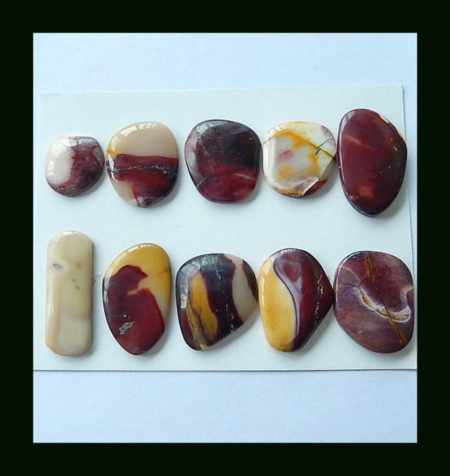 10PCS  Natural Mookaite Jasper Cabochons