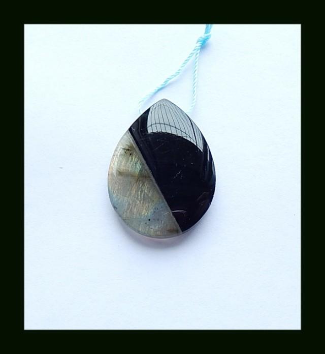 40 Cts Labradorite,Obsidian Intarsia Pendant Bead(B1804326)