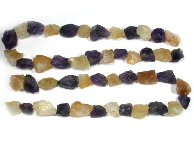 2 CHUNKY AMETHYST AND  CITRINE  STRAND   BEADS   RA1417