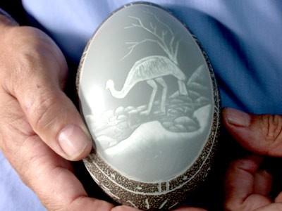 HAND CARVED ABORIGINAL EMU EGG FROM AUSTRALIA