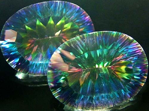 MYSTIC QUARTZ  '' GALAXY'' PAIR VS 16 CTS  [S2765]