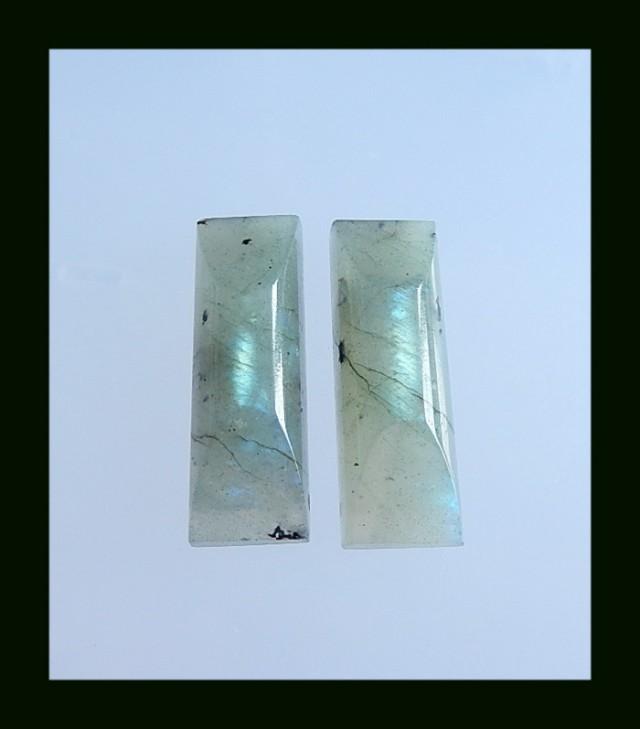 Natural Labradorite Cabochon Pair,32x11x8 MM