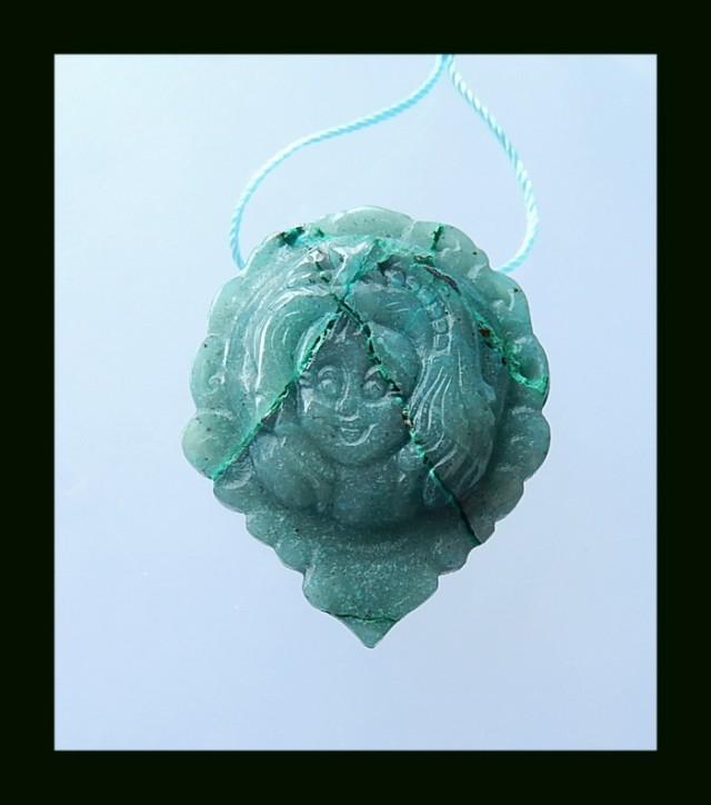 80.5Cts Handmade Chrysocolla Princess Carving Pendant Bead