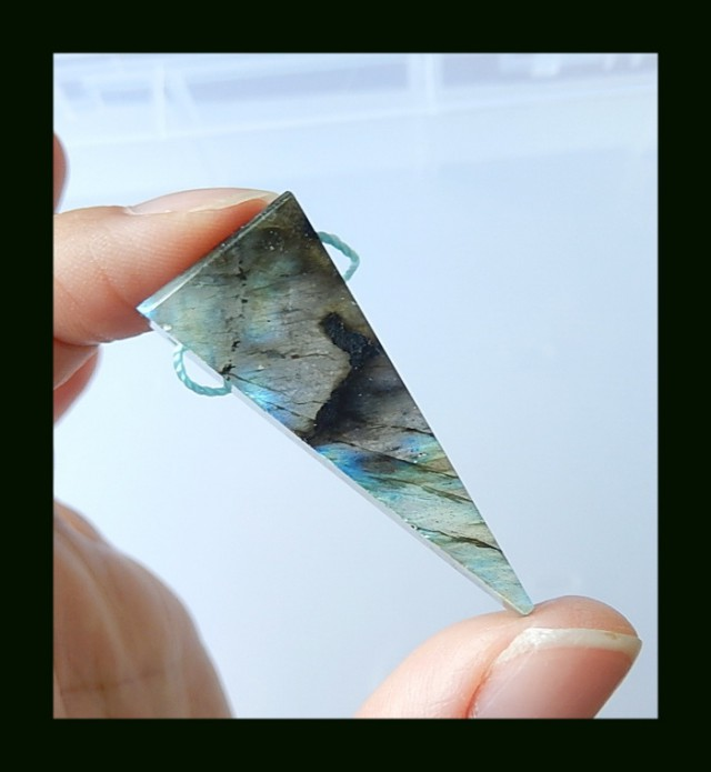 Triangle Labradorite Pendant Bead,43x13x7 MM