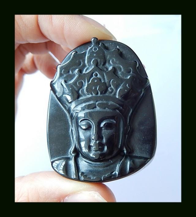 Kind Carving Obsidian Pendant Bead,45x35x11 MM