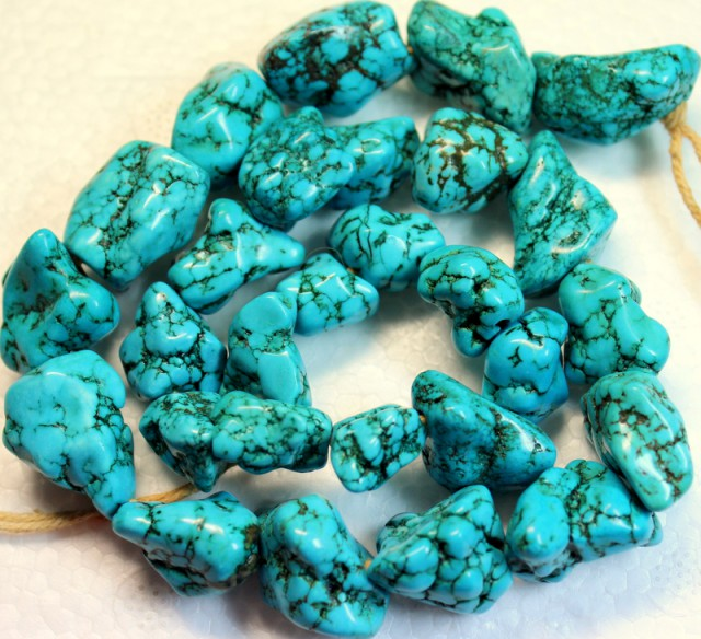 571.5 CTS HOWLITE BEADS NATURAL SHAPE P980