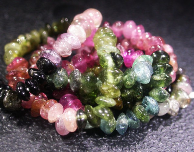37.1 CTS 4.2 MM TOURMALINE BEADS A GRADE 16 INCHES [ST9495]