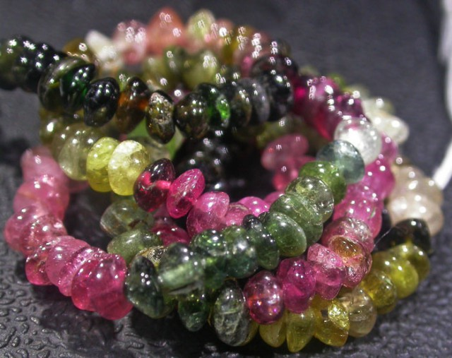 37.8 CTS 4.2 MM TOURMALINE BEADS A GRADE 16 INCHES [ST9498]