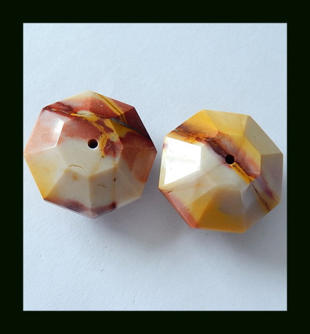 105.5 Cts Faceted Mookaite Jasper Beads Pair(B1804348)