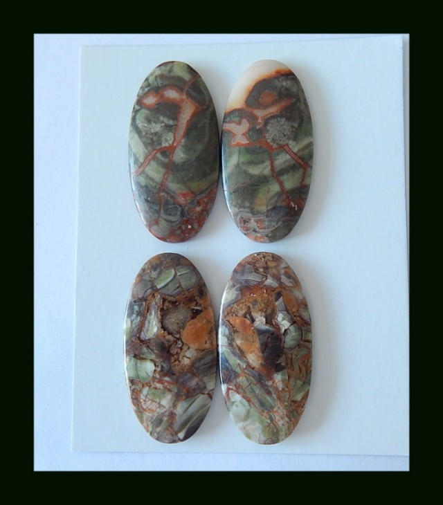 Wholesale,Sell 2 Pairs of Oval Mushroom Jasper Cabochon Pair,Women Stone Je