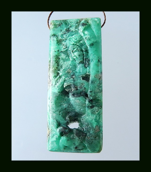 65 Cts Abstract Carving Chrysocprase Pendant Bead,Carved Naked Sexy Women N
