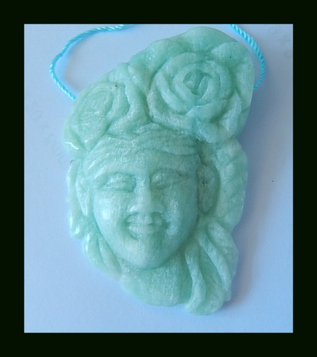 121.5 Cts Vintage Beauty Carving Amazonite Pendant Bead