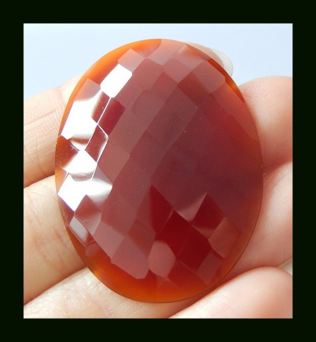 46.5 Cts Faceted Wine Red Agate Oval Gemstone Cabochon