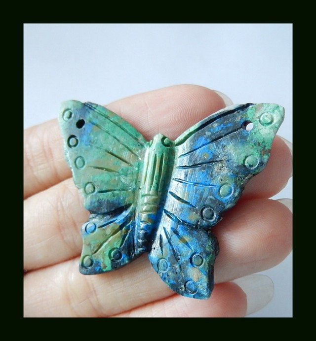 Chrysocolla Butterfly craving Pendant Bead With Two Hole