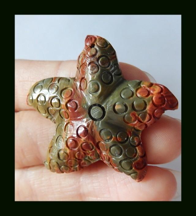 45Cts Multi Color Picasso Jasper Starfish Carving Pendant Bead